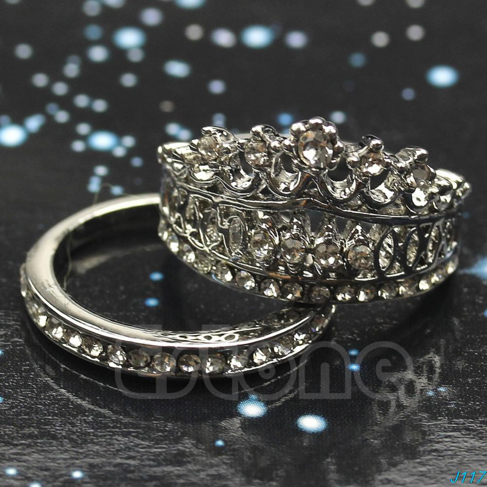 white sapphire gem crown wedding band ring set size 5 8 j117 in rings