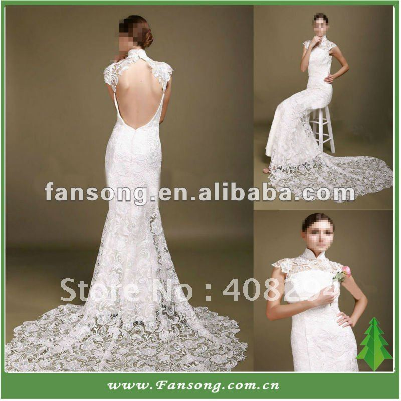 elegant royal high neck mermaid open back lace wedding