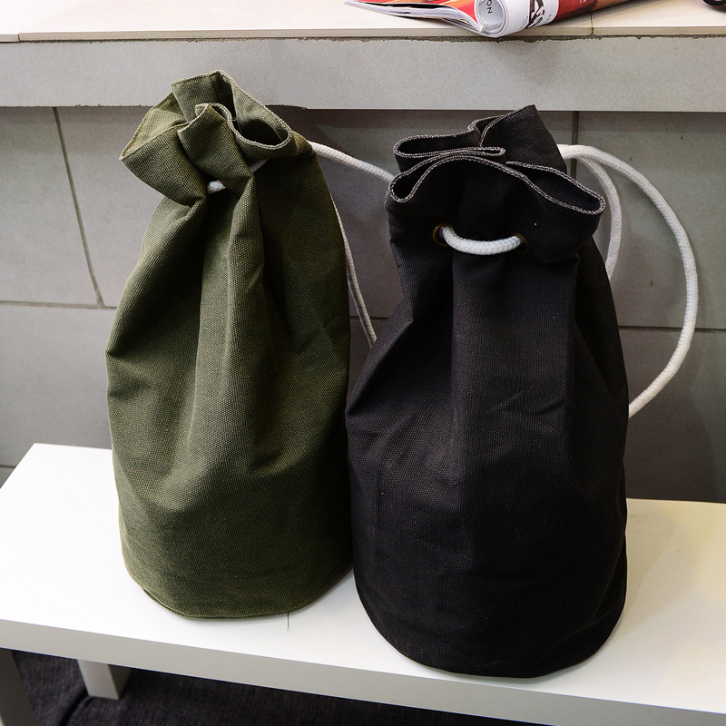 2016 New Large Capacity Women Man Drawstring Backpack Canvas Bucket Bag High Quality One Shoulder Concise Basketball Bags G0802(China (Mainland))