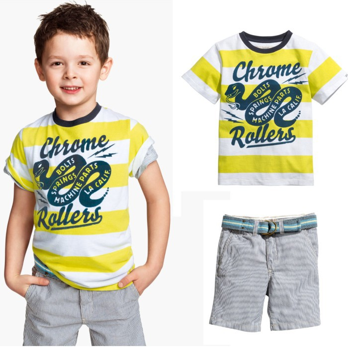 2014 summer cute boys letter Striped short sleeve t shirt + pants 2pcs set kids snake print clothing children casual clothes<br><br>Aliexpress