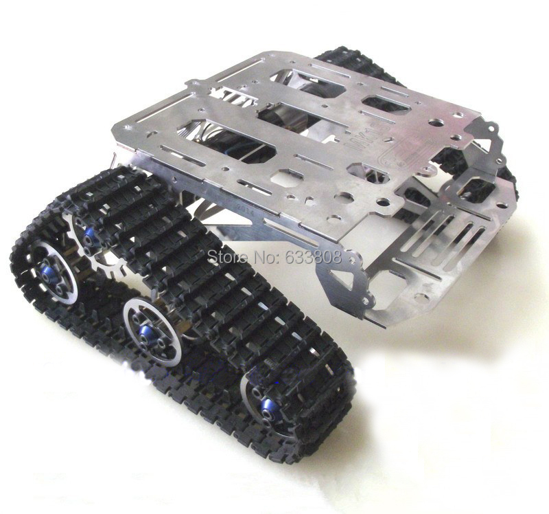Full metal Full metal crawler robot chassiss all metal tank chassis DIY kit robot parts tank car chassis for remotor control car(China (Mainland))