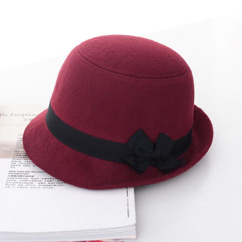 Vente chaude angleterre Style imité laine Bowler Derby chapeau pour femmes hiver Fedoras(China (Mainland))