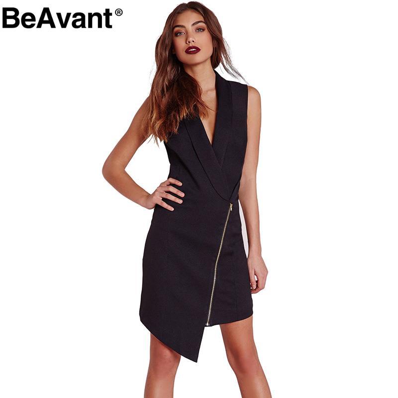 BeAvant 2016 New Summer sexy style Asymmetrical designer dress Special V-neck sleeveless Front zipper ornament Fashion dress(China (Mainland))