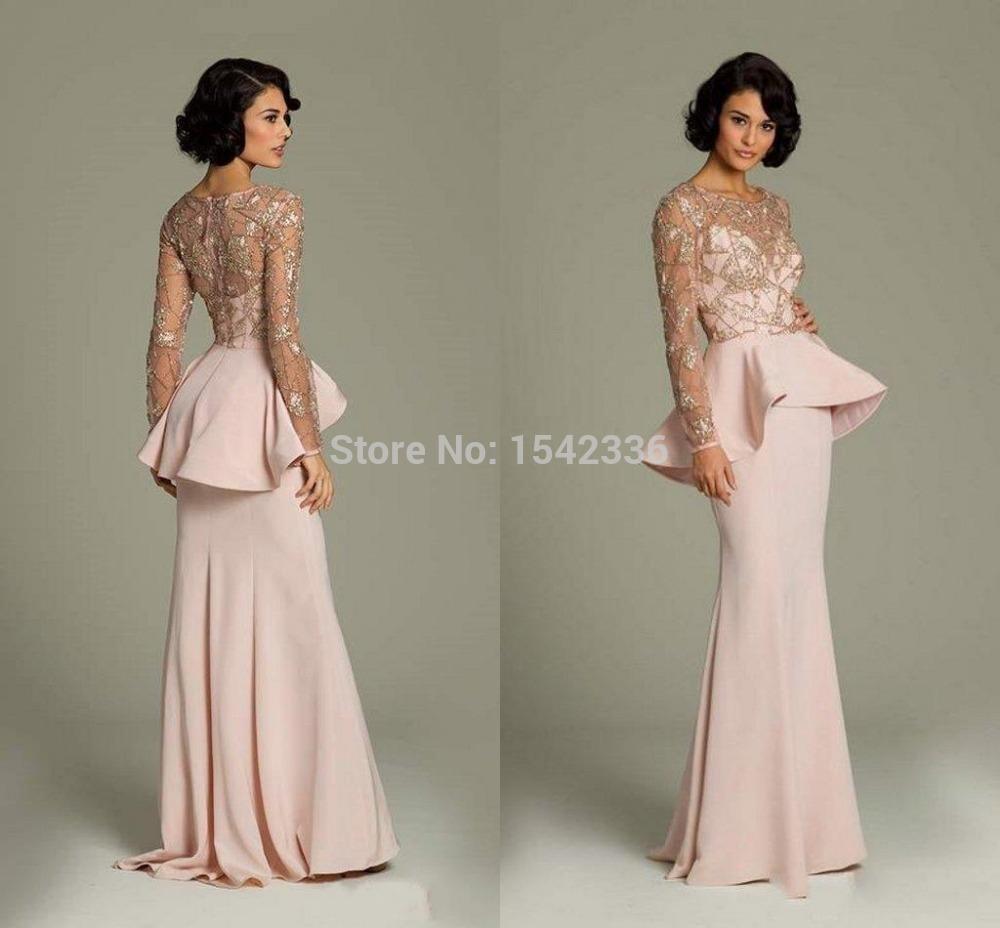 2015 pink lace long sleeve evening dresses sheer gold applique prom gowns peplum floor length. Black Bedroom Furniture Sets. Home Design Ideas