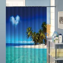 Strand Muster Duschvorhang Wasserdichtes Gewebe Bad Zubehör 3D Druck Ozean  Vorhang Für Badezimmer Grüne(China