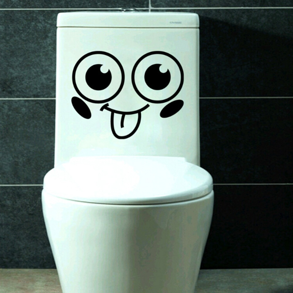 Smile face toilet decal vinyl wall mural art decor funny bathroom wc sticker oj in wall stickers - Decor wc ...