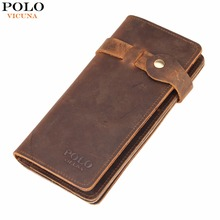 VICUNA POLO Vintage Hasp Open Genuine Leather Wallet High Large Capacity Unique Decor Crazy Horse Genuine Leather Man Wallet(China (Mainland))