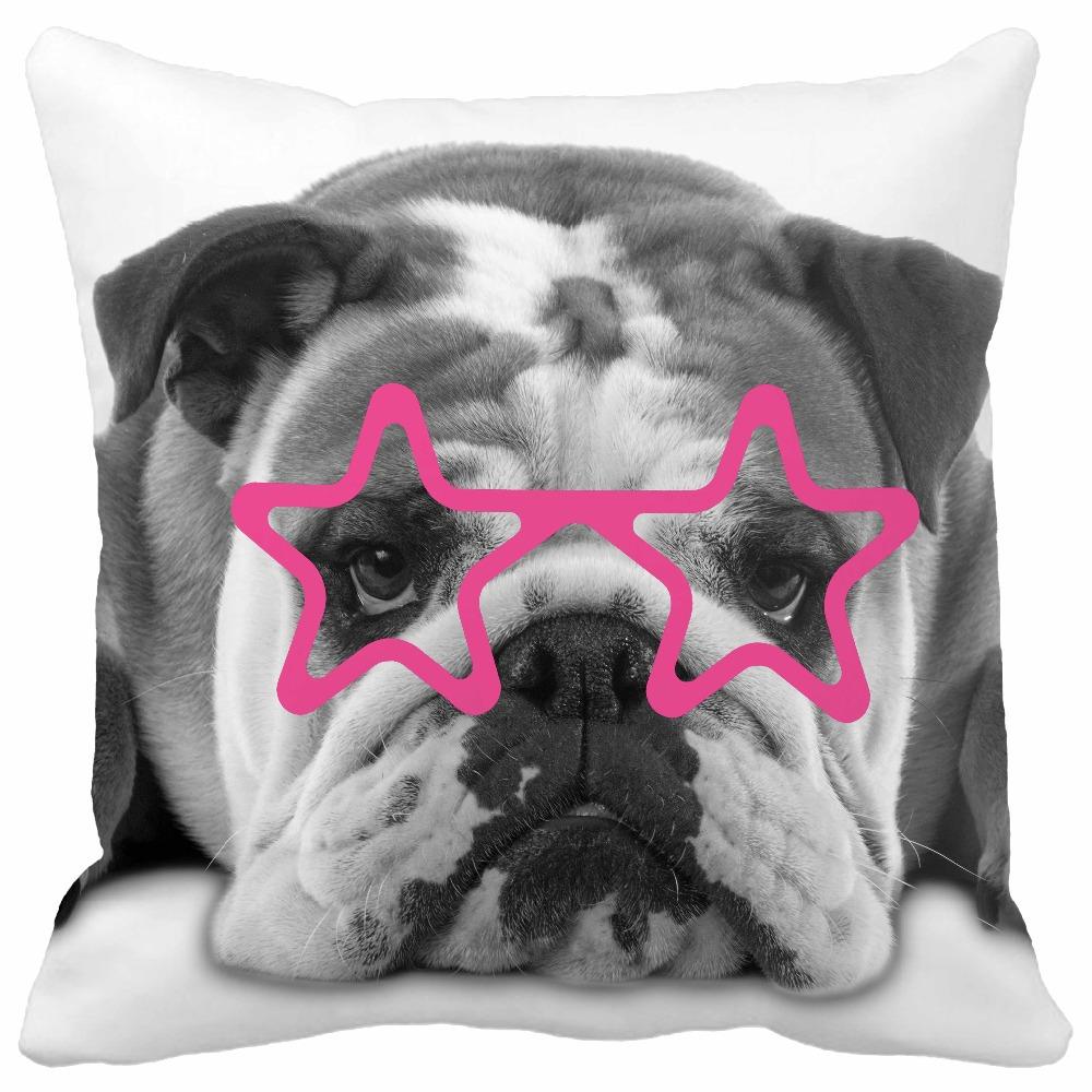 Funny Cute Bulldog Pet with Glasses Almofadas Print Throw Pillows Home Decor Car Seat Chair Cushion()