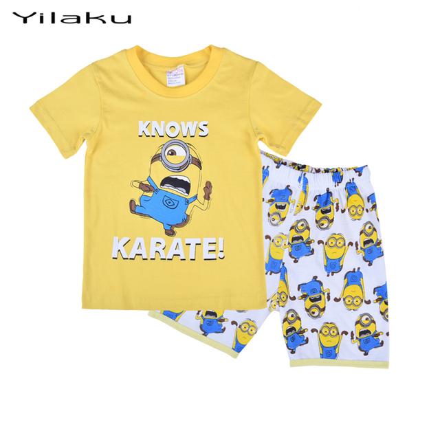 Миньон Pyjama мальчики девочки Pijamas установить с коротким рукавом и штаны Pijamas миньонов дети Pyjama Enfant пижамы устанавливает CF211