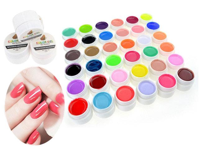 36 шт./компл. чистые цвета шику уф-гель ногтей советы расширение маникюр для девочек ...