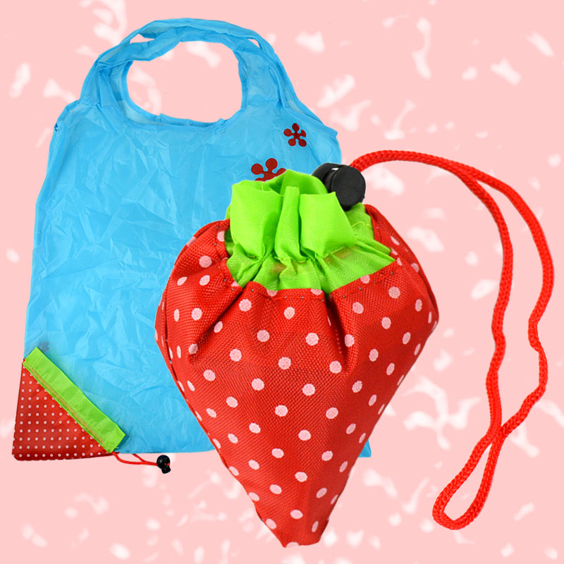 Shopping Bags Strawberry Foldable Reusable Polyester Recycle Carrier Tote(China (Mainland))