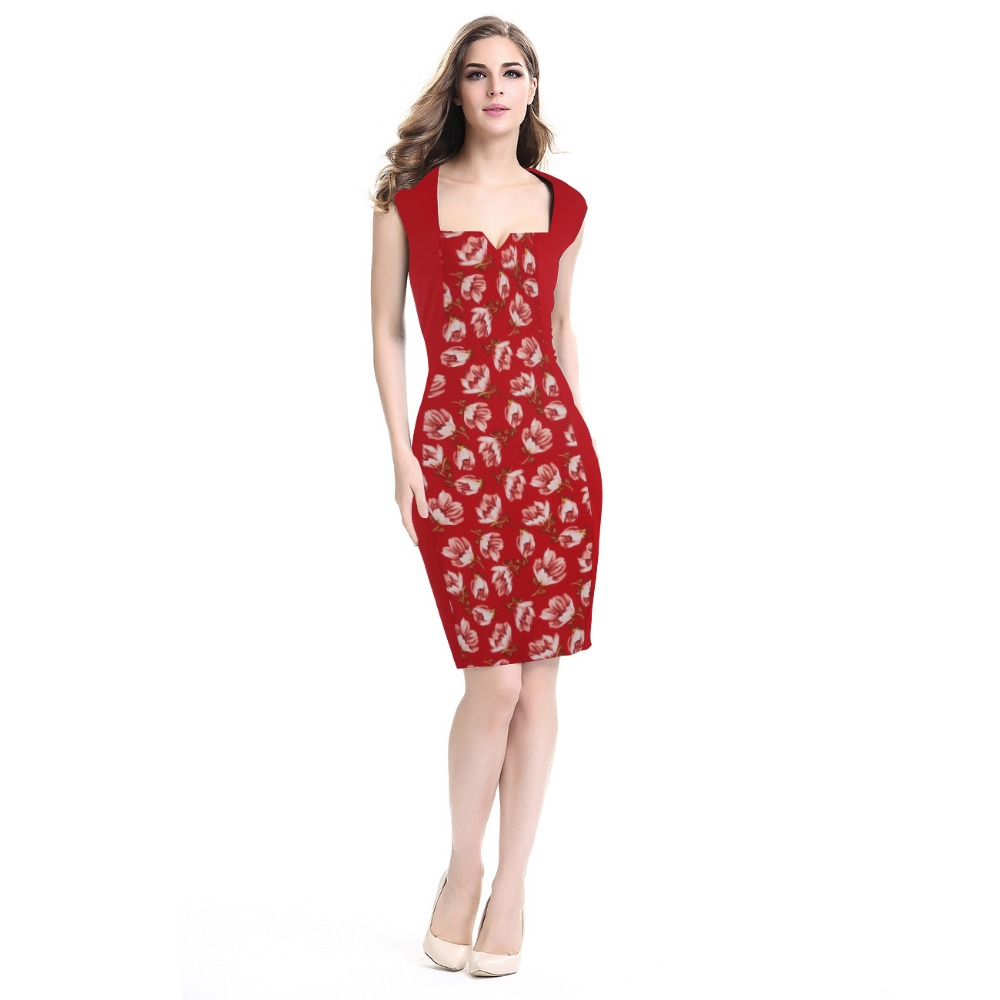 Women Square Collar Floral Print Work Dresses 2016 Summer Lady Sexy Office Sleeveless Knee Length Bodycon Pencil Dress Big Size(China (Mainland))