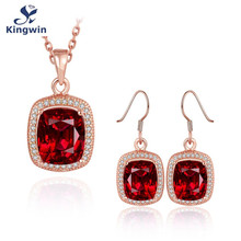 Lab ruby red cz diamond engagement & bridal jewelry sets, multi tone gold plated color stone jewelry sets necklace & earring(China (Mainland))