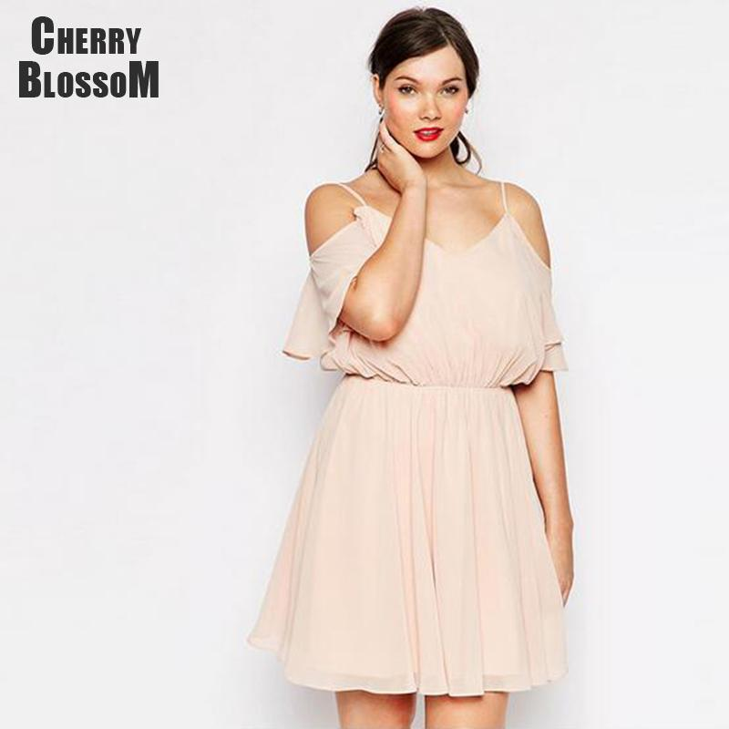 3XL 4XL Chiffon Dress Women Off the Shoulder Pink Dresses Women Summer Dress Fashion A line Day Dresses Lady Plus Size 2016(China (Mainland))