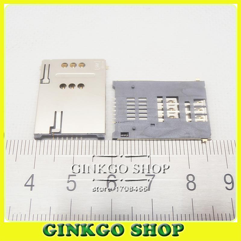 Здесь можно купить  50pcs  Mobile Phone Sim card Slot 6P+1P Self Push sim 7P card socket Holder For Tablet PC Dual shell with column  Электротехническое оборудование и материалы