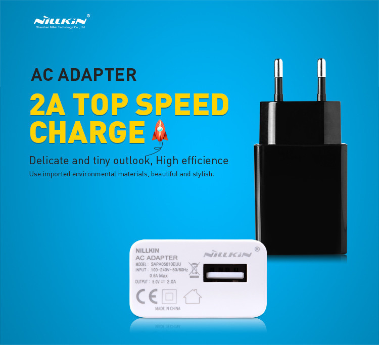 Original Nillkin Charger 5V 2A Top Speed Charger AC 2A EU Europe Standard USB Plug Power Wall Charger For Cell Phone USB Charger(China (Mainland))