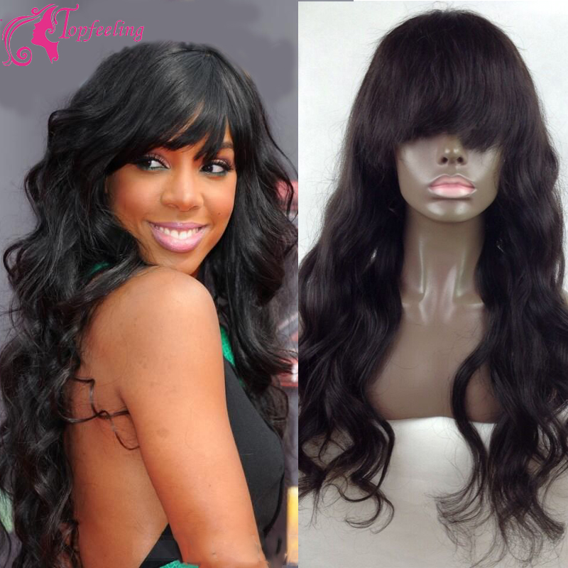 8A Full Lace Human Brazilian Virgin Hair Wigs Bangs Glueless Wavy Lace Front Wig Perruque&amp;Bleached Knots For Black/White Women<br>