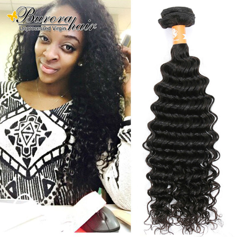 Brazilian Deep Wave Brazilian Virgin Hair 4 Bundles Deals 7A Unprocessed Virgin Hair  Brazilian Deep Wave 100% Human Hair Weave