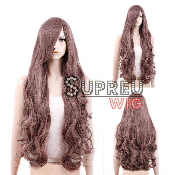 80cm / 100cm Heat Resistant Long Curly Ash Purple Fashion Hair Wig with Bangs PL266/PL266A(China (Mainland))