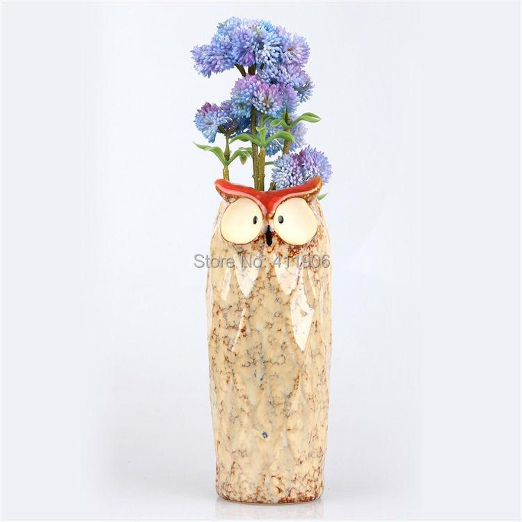 Owl Shape Long Ceramic Succulent Plant Flower Pot Flowerpot Planter Nursery Pots(China (Mainland))
