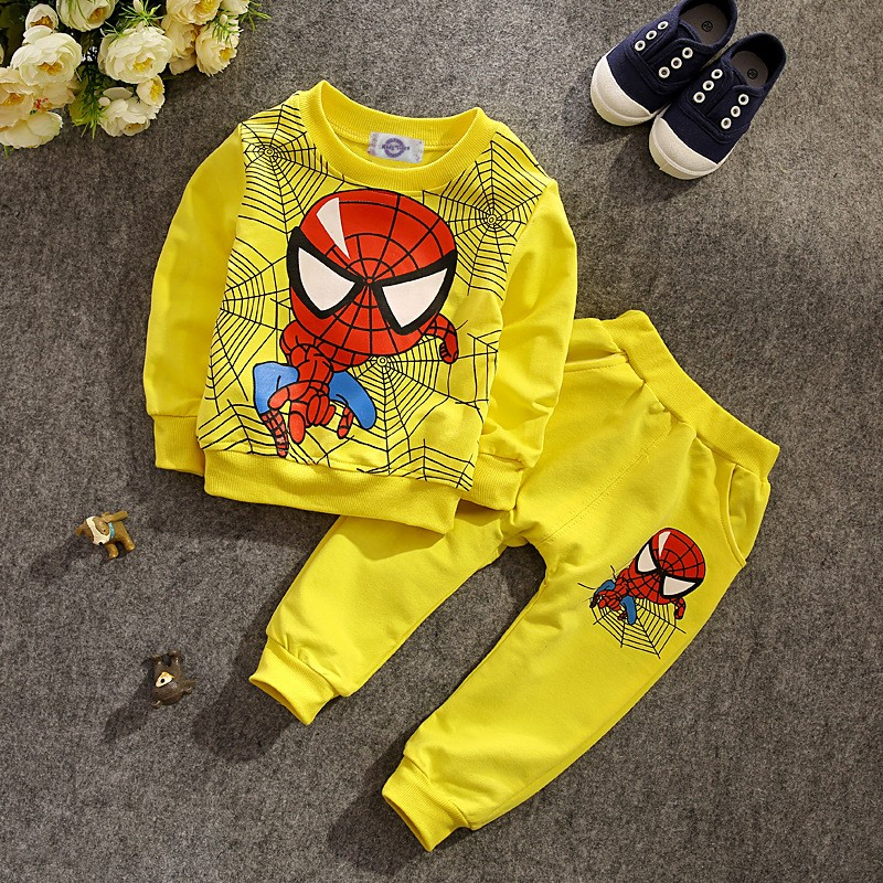 New 2016 Children's long-sleeved T-shirt + Pants Spring Autumn Spider-Man Cotton Clothes Outfits Sets for Toddler boys and girls