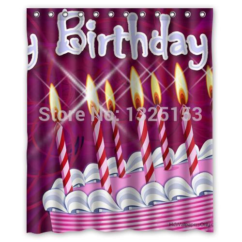 Wonderful Happy Birthday Shower Curtain 60x72 Inch Special Design(China (Mainland))