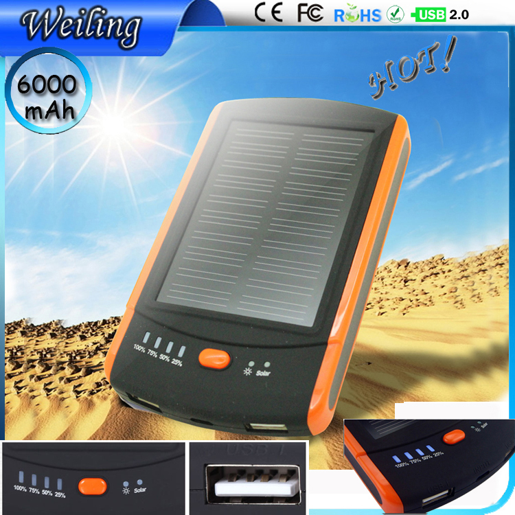 Solar Power Bank Manufacturer 6000mah Universal Power Bank Charger Quality Reliable Power Bank for smartphone /ipad/camera(China (Mainland))