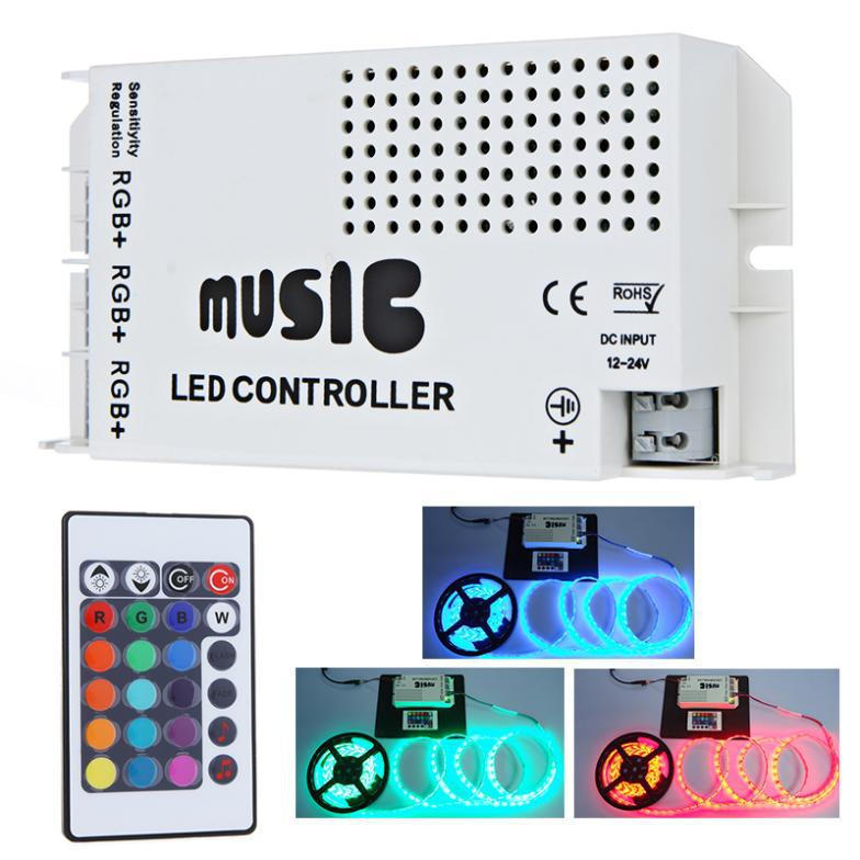 Hot Sale 12-24V 24 Keys Wireless IR Remote Control LED Music Sound Control RGB led Controller Dimmer for RGB LED Strips free shi(China (Mainland))