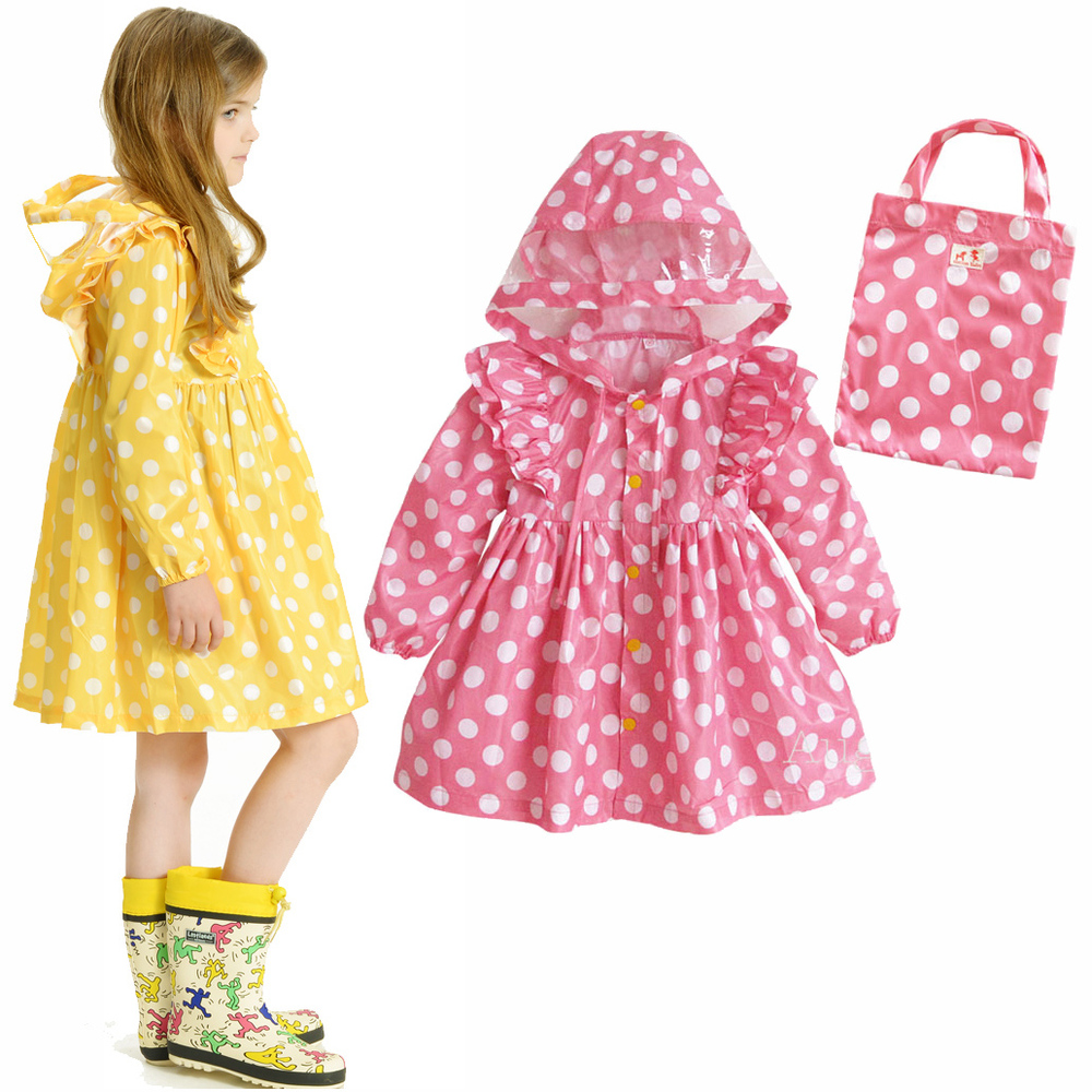 Dots Polka princess dress Child /Kids Waterproof Raincoats ...