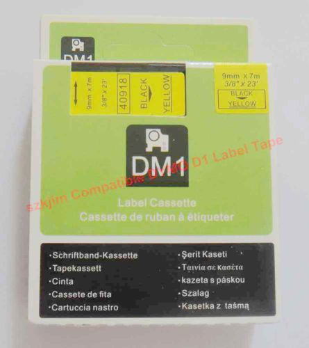 """Non-OEM DYMO D1 Compatible 40918 Black on Yellow 3/8"""" x 23' Label Tape Writer 220P(China (Mainland))"""