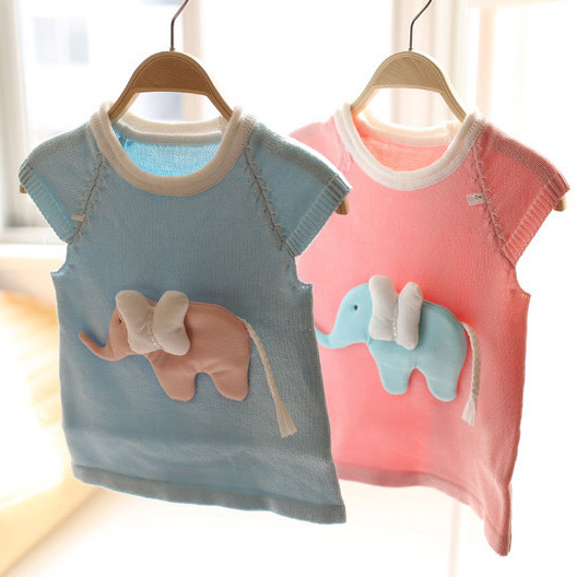 Spring and autumn new style baby girls cartoon elephants Pretty cute sweater kids sweater children knitted sweater(China (Mainland))