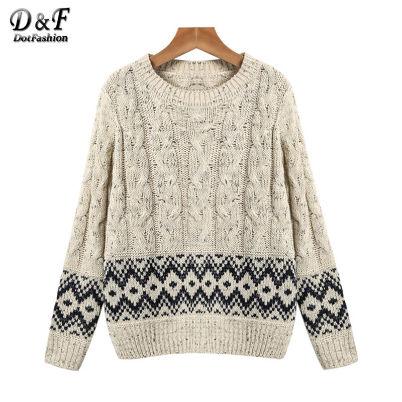 Sweaters Womens Korean Knitwear East Knitting Fashion Hot Sale Apricot Long Sleeve Geometric Pattern Cable Knit Sweater(China (Mainland))