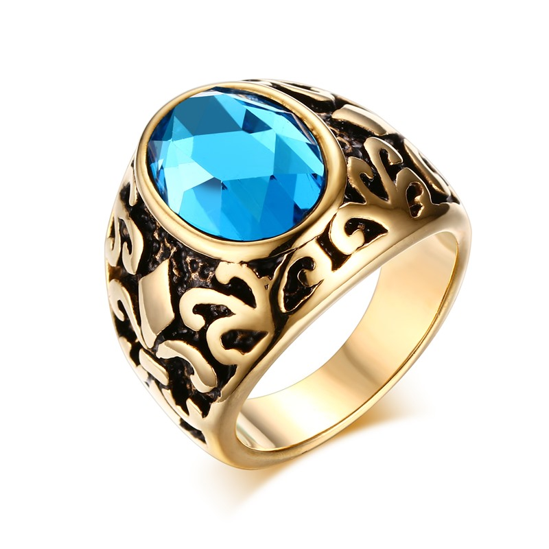 2016 Retro style male ring stainless steel 18k gold plated ...
