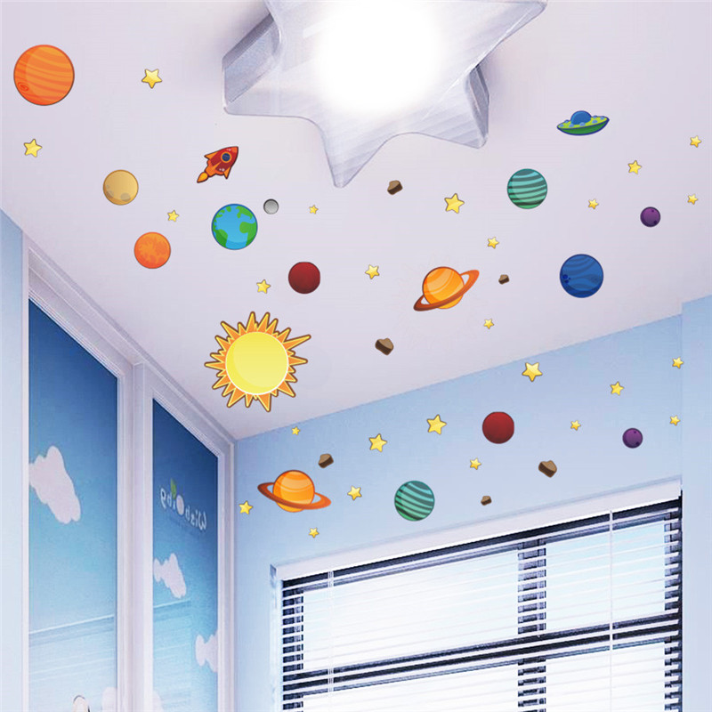 Solar System Universe Wall Stickers For Kids Room Nursery PVC Posters Wall Decals Art Poster Space Galaxy Boys Bedroom Graphic(China (Mainland))