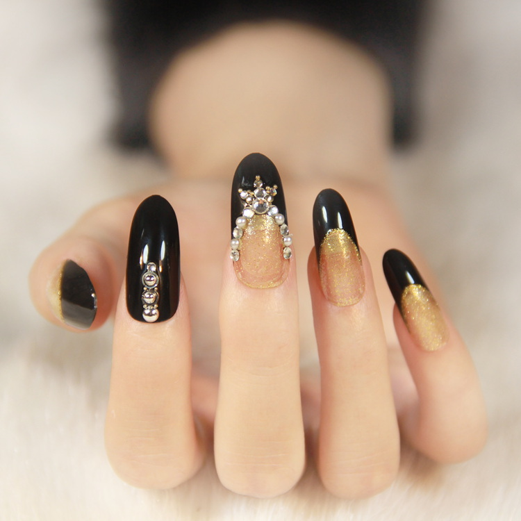 713 Free Shipping Delivery (1 piece) 2015 New Small round long fake nails gold with Black Bride(China (Mainland))