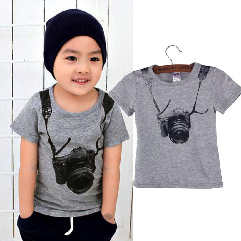 toddler boy clothing Summer Children Boy Kids Camera Short Sleeve Tops O Neck T Shirt Tees