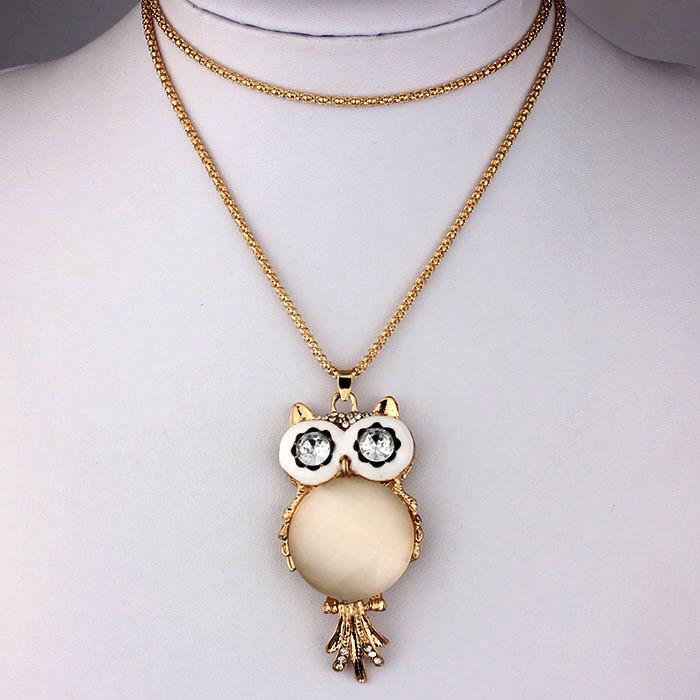 viviLady Fashion White Opal Stone Crystal Owl Pendant Necklace Women Long Chain Jewelry Gift - ViviLady store