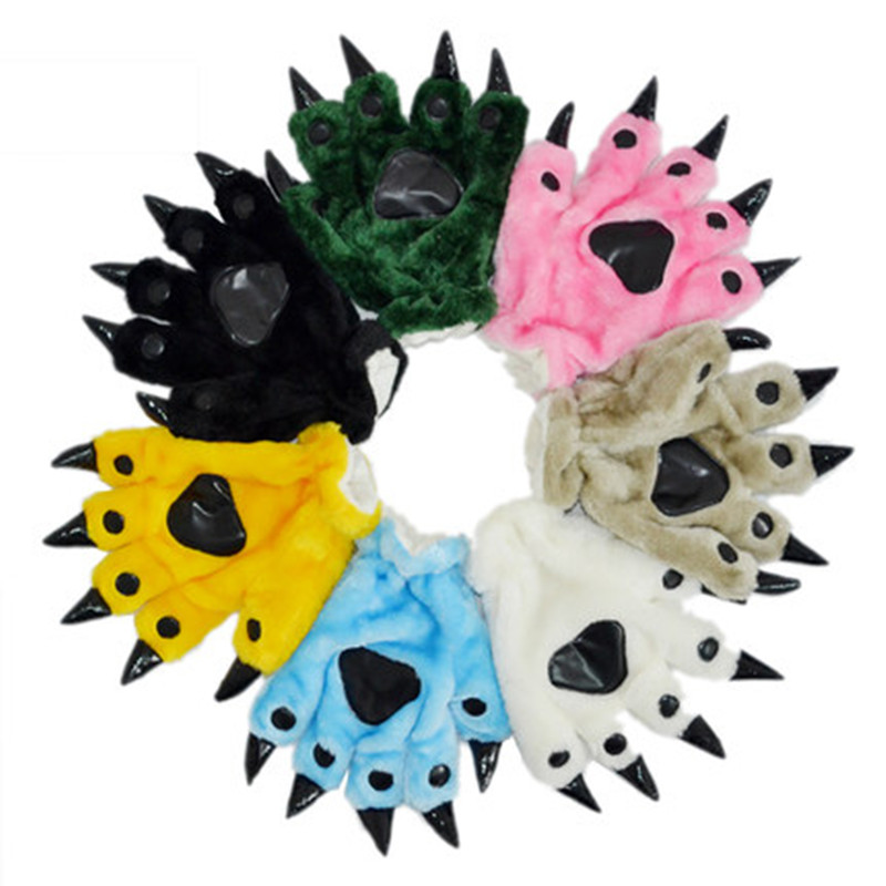2016 New Autumn Winter Flannel Novelty Cosplay Costume Cartoon Animal Paw Gloves Fashion Dinosaur Stitch Unicorn Claw Gloves(China (Mainland))