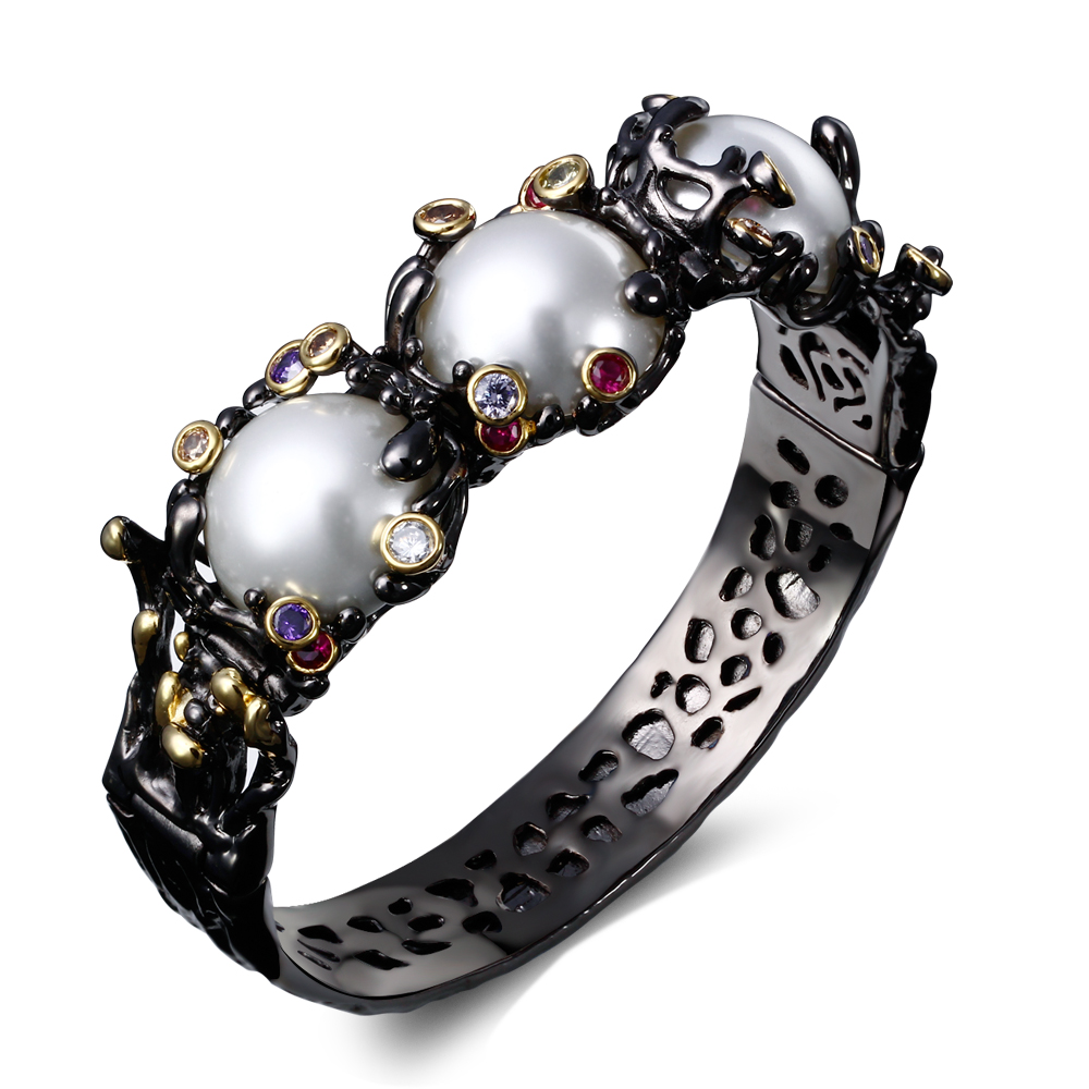 Big Pearl Bracelet Black Gun and Gold plated Bangle Pearl Jewelry paved AAA Cubic Zirconia half round Pearl(China (Mainland))