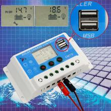HOT 12V/24V AUTO 10A LCD PWM Solar Panel Charge Controller With Dual USB 5V chargers 10A/20A/30A(China (Mainland))