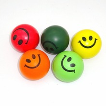 10pcs/lot Smiley PU Ocean Sponge Ball Solid Foam Bouncing Balls Toys Multicolor 6.3cm Free Shipping(China (Mainland))