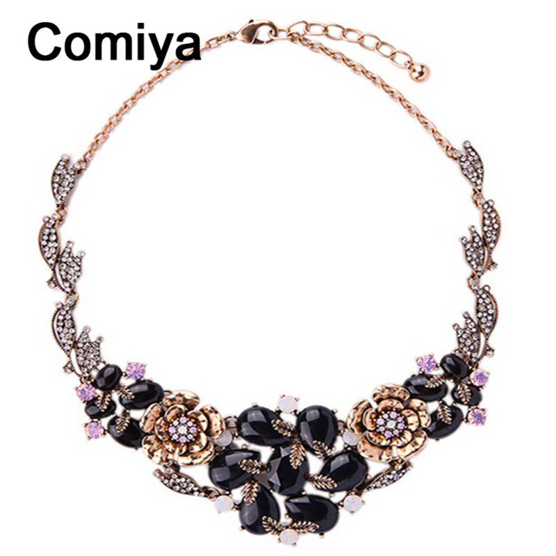 Comiya colar feminino gold color zinc alloy imitation rhinestones women choker necklaces masculino teen wolf wholesale necklace(China (Mainland))