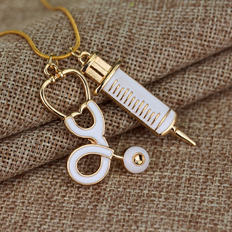 Trendy Medical Stethoscope Syringe Pendant Necklace Snake Chain Needle Metal Alloy Pendant For Women Nurses Jewlry Gifts