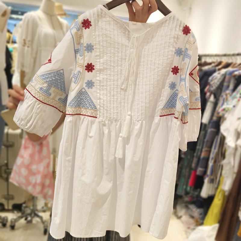 Небо мечта летнее платье 2016 плюс размер женская одежда 5xl большой размеры новые Свободные показать тонкие тяжелая вышивка половина рукав рубашки