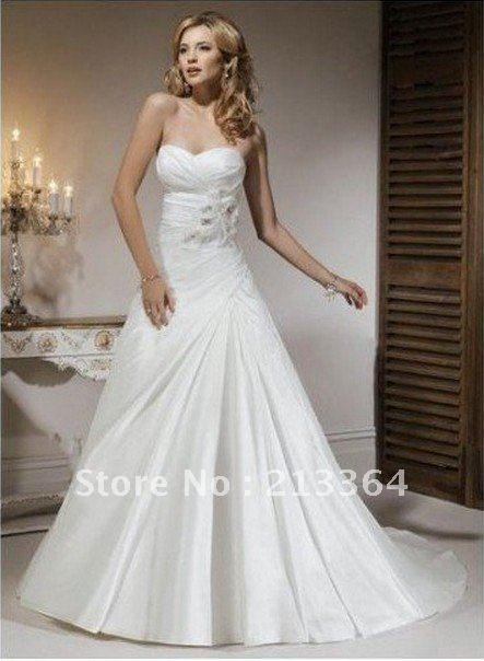 Free shipping A-Line Taffeta contracted temperament Wedding Dresses any size/colour wholesale/retail(China (Mainland))