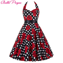 Buy Belle Poque Audrey Hepburn Style Vintage Dresses Summer Plus Size Casual Party Robe Rockabilly Floral 50s Big Swing Retro Dress for $25.76 in AliExpress store