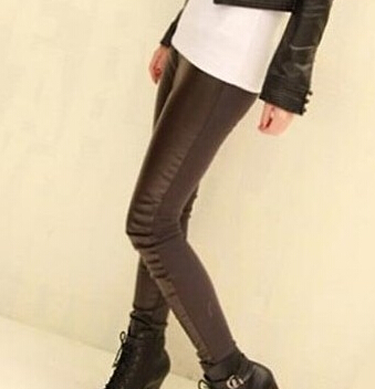 Hot Sexy Women's Faux Leather Wet Look PU Tight Shiny Pants Black High Waist Elastic Back Cotton Stretch Pencil Pants