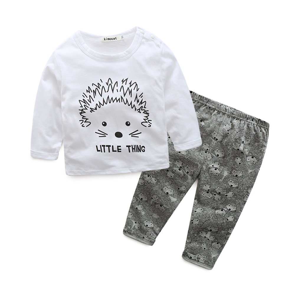 tz1031 Newborn Clothing Sets Spring Autumn Baby Clothes O-Neck Carton print White Fashion Kids Suits T-shirt+Pants 0-3 Years