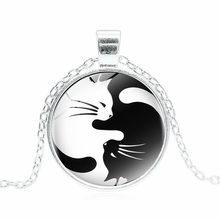 Hot Vintage Two Cat naszyjnik szklany wisiorek Yin Yang Corollary długi wyróżniający się naszyjnik naszyjnik dla kobiet mężczyzn prezent dla najlepszego przyjaciela(China)