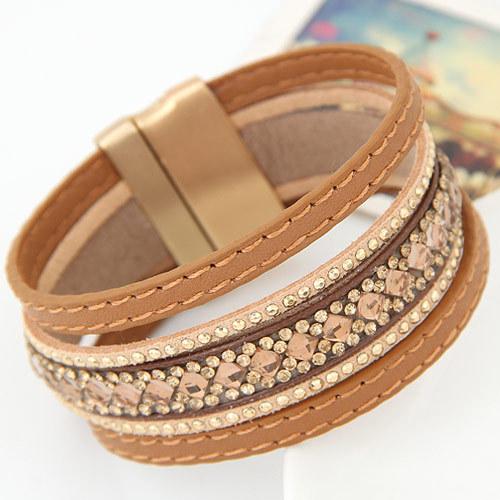 2016 чешские ручной полный камень сияющий кожаные браслеты браслеты для женщин магнитные ...